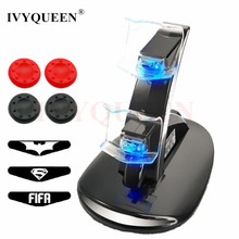 IVYUEEN 8 in 1 USB Charging Controller Chargers Stand & Sticks Grip & LED Sticker For PlayStation 4 PS4 Pro Slim Controllers