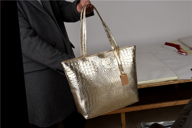 Brand Fashion Casual Women Shoulder Bags Silver Gold Black Crocodile Handbag PU Leather Female Big Tote Bag Ladies Hand Bags Sac 3