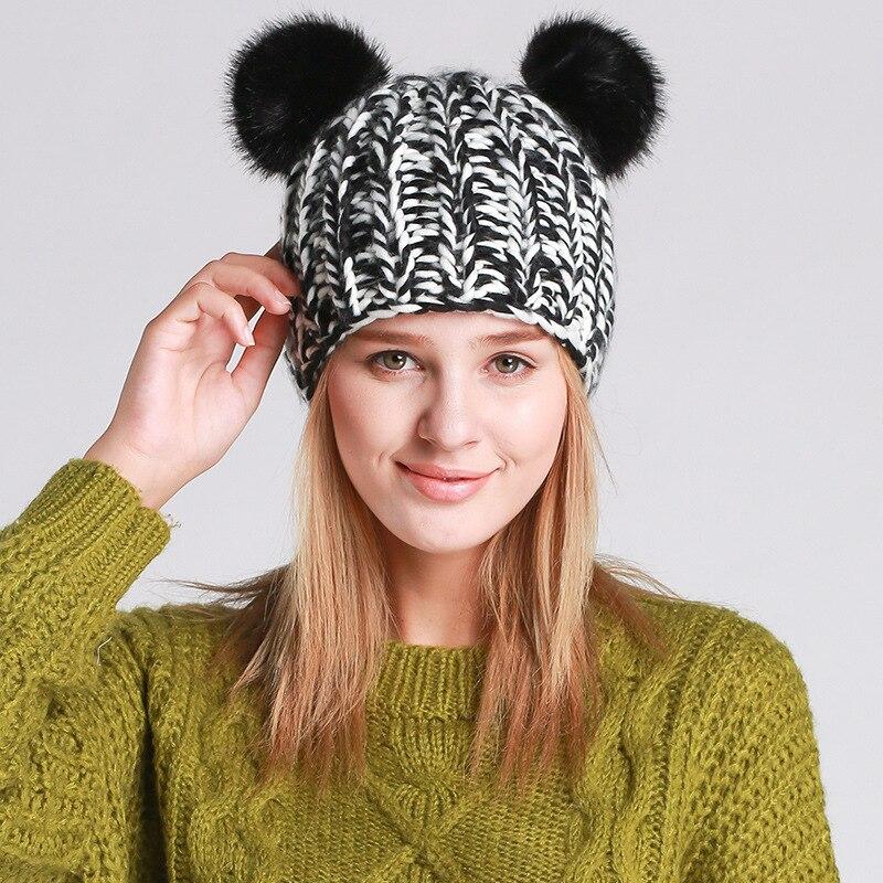 Spring Winter Fashion Women Cute Cat Ear Beanies Handmade Knitting Hat Ear Warm Cap Girl Skullies BeaniesÎäåæäà è àêñåññóàðû<br><br><br>Aliexpress
