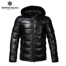 New Winter leather jacket Bring hat leather jacket men Internal Cotton jacket mens genuine leather Warm jaqueta de couro mascul(China)