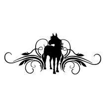 30*12.9CM Scrolling And Horse Vinyl Fashion Car Sticker Decorative Car Door Styling Decal Black/Silver S1-2109(China)