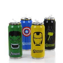 Hot Sales 300ml/450ml Thermos Mug Heroes Stainless Steel Vacuum Cup With Straw Thermal Bottle Thermocup Kid Gifts