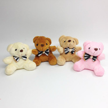 12pcs x 2.8inch Plush Teddy Bears Small Tiny Miniature Doll House Craft Sitting Bear With Bow(China)