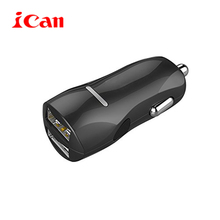 ican car-charge rapid car charger with two usb ports built in smart IC solution 4.8a/24W for apple iphone samsung Huawei xiaomi