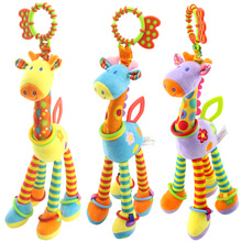 Plush Giraffe Deer Baby Toys Soft Animal Bed Hanging Rattles Mobiles With Bell Ring Teether Infant Infant Toy Gift(China)