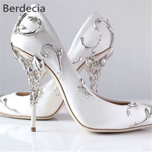 Ornamental Filigree Leaves Spiralling Naturally Up Heel White Women Wedding Shoes Chic Satin Stiletto Heels Eden Pumps Bridal(China)