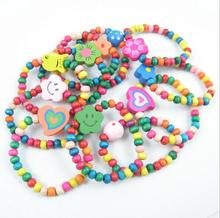 12 PC/Set Elastic Bracelet Kids Girl Boy Candy Color Wood Wristbands Children Toy Bracelet&Bangles party Birthday Gift Jewelry(China)