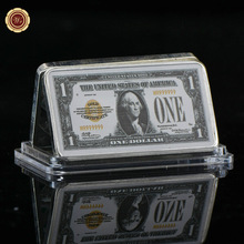 WR American One Dollar World Paper Money Silver Bar 24k 999.9 Silver Plated Metal Bars Art Crafts for Home Decor and Collection
