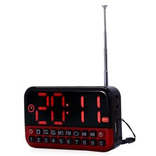 L - 80 HD LCD Speak Screen Portable Multi-functional LED Alarm Clock Radio Card MP3 Speaker Support TF/Micro SD Card