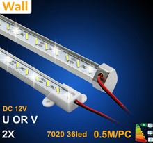 Factory Wholesale 50CM DC 12V 36 SMD 7020 LED Hard Rigid LED Strip Bar Light with U or V Aluminium shell