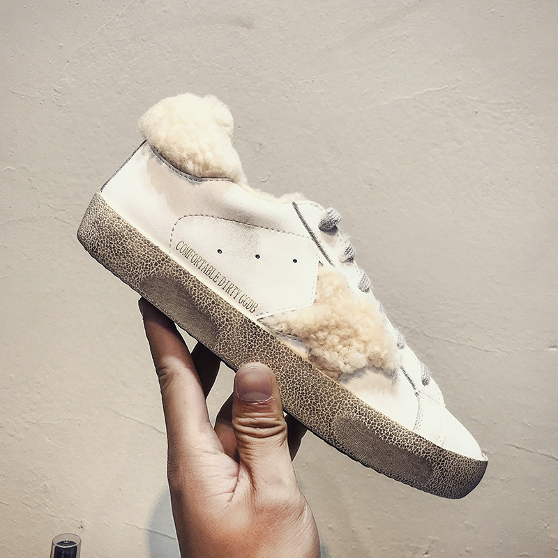 SWYIVY Woman White Sneakers Cashmere 2019 New Winter fur Retro Genuine Leather Woman Casual Flat Shoes Dirty Female Shoes 40Plus