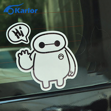 Fashion Big Hero 6 Baymax Say Hi Logo Vinyl Car Auto Motorcycle Reflective Decal 3M Sticker Window Cover Exterior Car-Styling