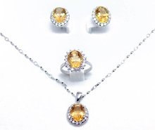 Citrine set Free shipping Natural real citrine 1pc ring,1pc pendant,1 pair stud earring 925 sterling silver 2.4ct*4pcs