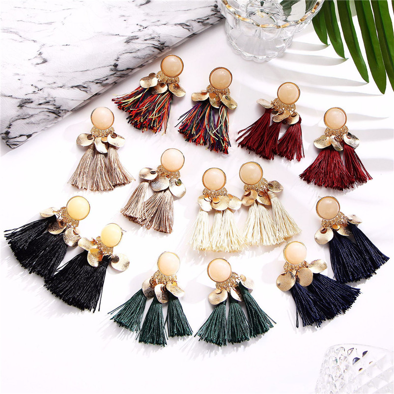2018 Trendry Earrings for Women Bohemian Fashion Weave Tassel Earrings Long Drop Earrings Jewelry for gift Brincos J05#N (2)