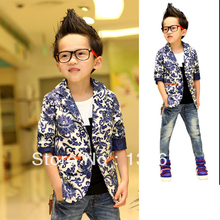 2017 Fashion Kids Boys Jacket Coat Clothes Blue and white Porcelain Printed Suit Costume 2-7Y XL166