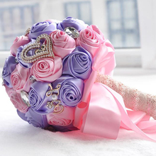 Hot selling purple +pink silk rose wedding bouquets wedding flower bridal bouquets for wedding(China)