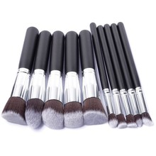 Hot 10Pcs Pro Makeup Blush Eyeshadow Blending Set Concealer Cosmetic Make Up Brushes Tool Eyeliner Lip Brushes