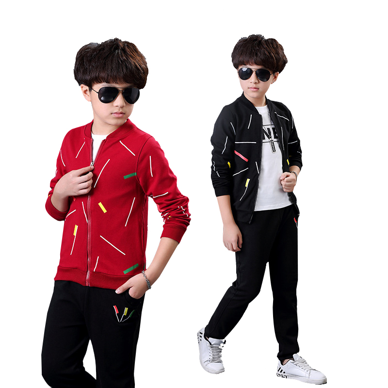 Boys Tracksuit Spring Autumn Long Sleeve Fashion Comfortable cotton Top+T-shirt+Pants 3 pcs Outfits 4 6 8 10 11 12 14 Years <br>