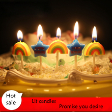 5Pcs/set Star Rainbow Candle Smoke-free Environmental protection Kids Birthday Cake Decoration Party Birthday Supplies