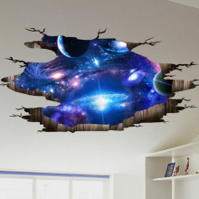Creative 3D Universe Galaxy Wall Stickers For Ceiling Roof Self-adhesive Mural Decoration Personality Waterproof Floor Sticker(China)