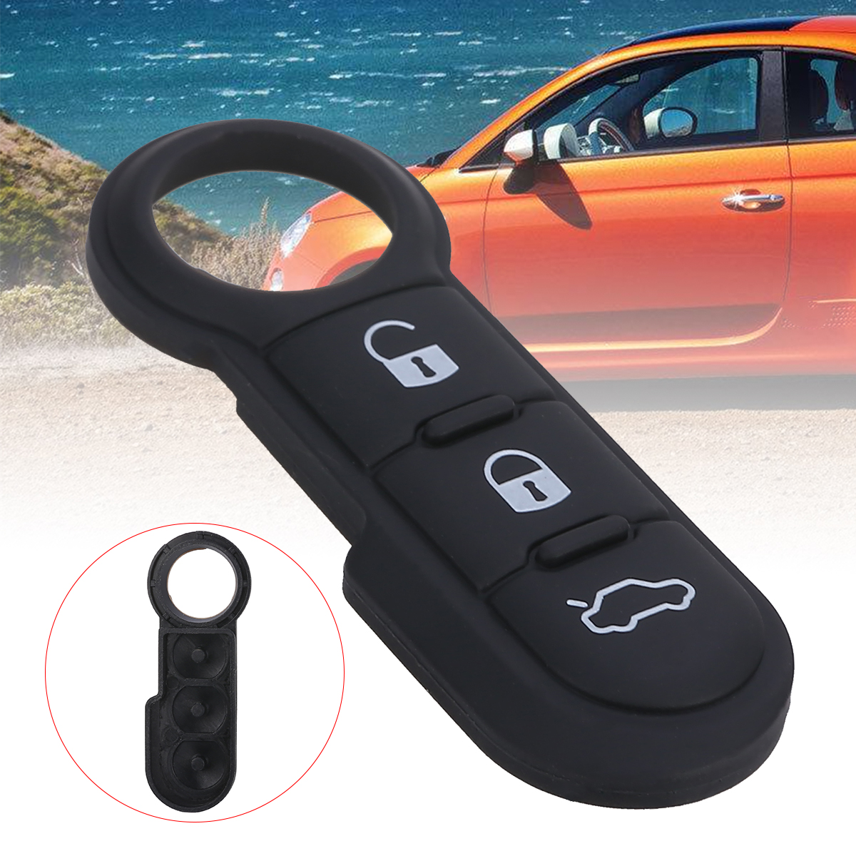 For Fiat 3 Buttons Rubber Pad Cover Support 500 Panda Abarth Punto Remote Key Fob