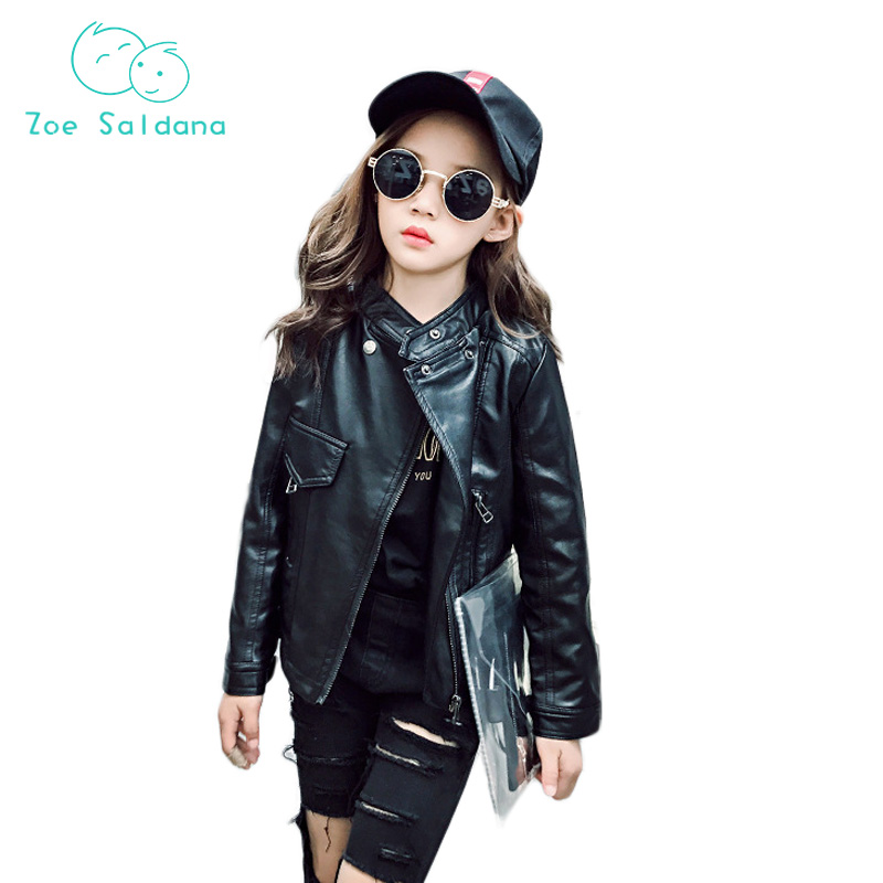 Zoe Saldana 2018 Spring Girls Jacket Full Sleeve Turn-down Collar Solid PU Leather  Jackets Children Outwear                    <br>