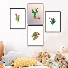 Cactus Watercolor Artwork Canvas Art Print Painting Poster Wall Pictures For Living Room Decoration Home Decor No Frame