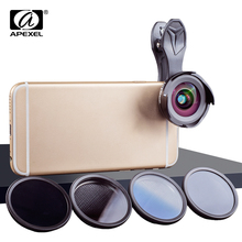 APEXEL phone camera lens kit HD professional wide angle/macro lens with grad filter CPL ND filter for android ios smartphone(China)