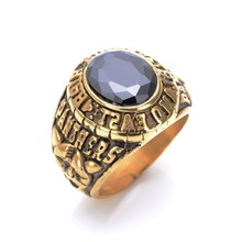Titanium steel America leopard ring domineering gold inlaid gems restoring ancient ways ring casting titanium steel ring