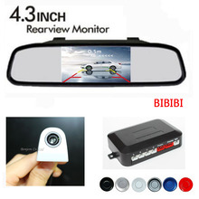 Dual Core Car Parking Sensors Buzzer Speaker 4 Radars White Rear View Camera Show on 4.3 inch Mirror Monitor Parking Assistance