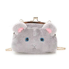 Girl's lovely cat soft fur bag metal frame claps handbag lolita cross body bags money purse daily wallet