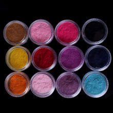 12Colors pots lobal hot sell ! Wholesale supply 12 Colors New Fashion Tips Fuzzy Flocking Velvet Nail Art Powder