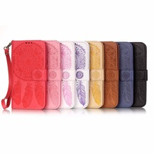 2016 Luxury PU Leather Wallet Flip Case For iPhone 5 5S SE Cover Dream Catcher Flower Pattern Retro Phone Bags With Lanyard