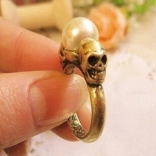 JZ153 The new European and American retro double-sided skull simple pearl ring wholesale influx of people female