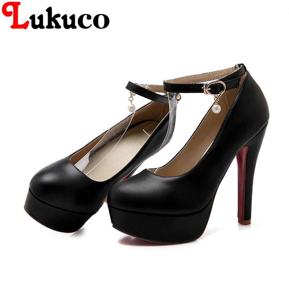 MATURE style LADY pumps size 41 42 43 44 45 46 high spike heels Rhinestone design made of high quality PU leather free shipping<br><br>Aliexpress