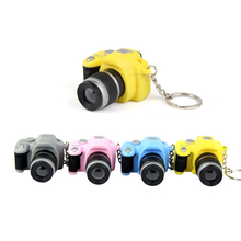 lens novelty car keychain bag charm jewelry candy color mini SLR Camera Kaca sound LED light flash keyring fans gift