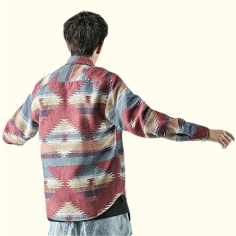 Men Vintage Woolen Leisure Pattern dress casual Shirt Men Streetwear shirts tops
