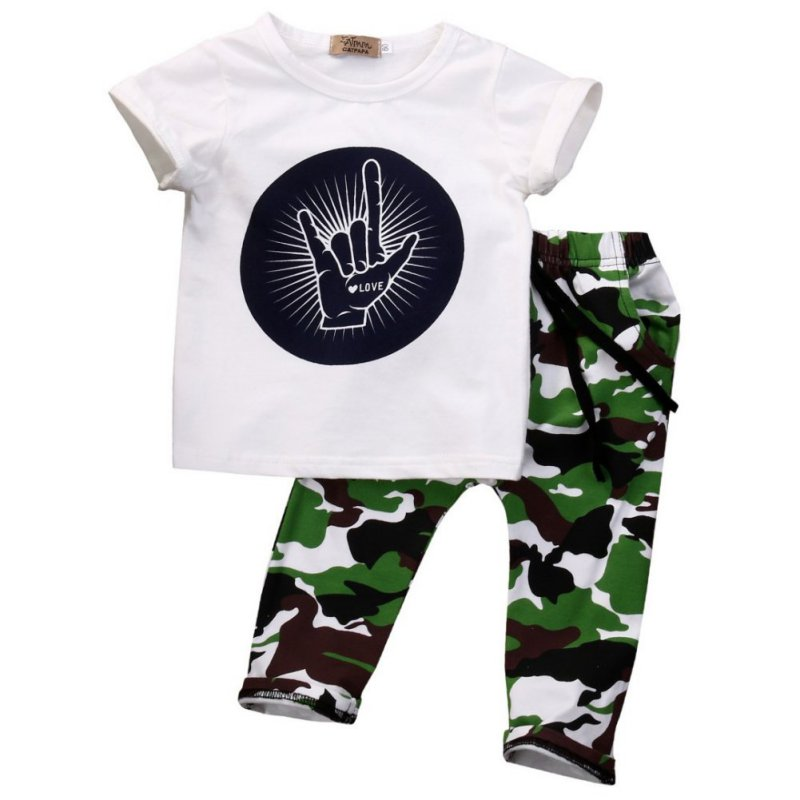 Y16 Toddler Baby Kids Boys Clothes Shirt Sleeve Tops T-shirt+Camouflage Pants Outfits Sets 2 Pcs<br><br>Aliexpress