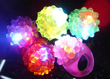 strawberry Led Light Up Flashing Ring Elastic Finger Ring Party Blinking Soft Finger Lights,Party Gift(China)