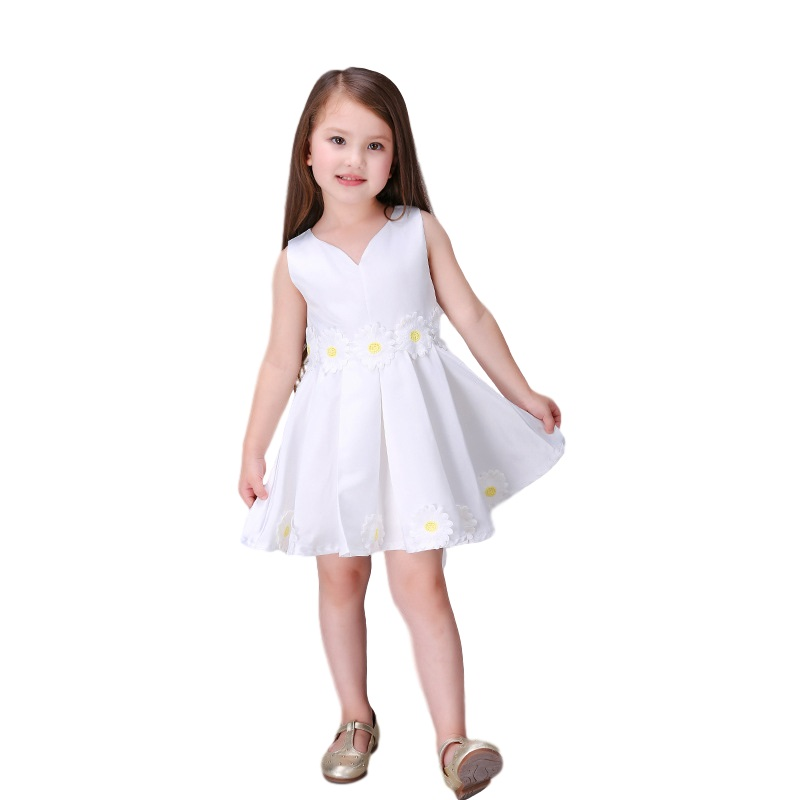 2017 New Gown Bridesmaid Child White Flower Baby Girls Wedding Dress Party Tutu Princess Dresses For Girls Size 3-10 11 12<br><br>Aliexpress