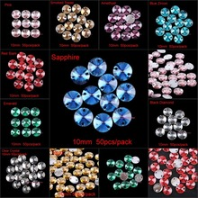 10mm 50pcs Round Sewing Resin Rhinestone Sew On Point Facet Crystals Flatback Two Holes Sew-On Garment Stones 11 Colors Choice