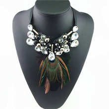 Unique Fake Collar Feathers Fashion Necklace Precious Peacock Feathers Statement Necklaces 2015 New Design Accessories Jewelry