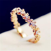 Korea Style Sweet Hollow Out Colorful Flowers Austria Crystal Shiny Rings For Women Wholesale Price Wholesale Hot Summer  RA147