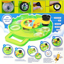 Bug Collection,Funny Viewer Field Toy set Microscope science kit intelligent Educational toys, Rotating Disc,Six Cups(China)