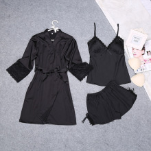 long sleeve ladies summer V-neck pajamas shorts sets silk pyjamas sets luxury noble sleepwear for young girls lace bath robe(China)
