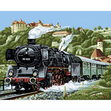 Handwork gift Train departure picture on canvas DIY acrylic paints painting by numbers vintage home decor wall art oil painting