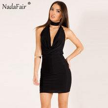 Buy Nadafair New Fashion Low Cut Deep V Neck Sleeveless Backless Halter Dress Women Sexy Bodycon Club Party Dresses Black Red Blue