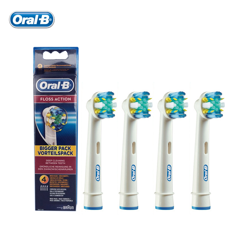 Oral B Floss Action Electric Toothbrush Heads Deep Clean Genuine Original EB25-4 Replacement Teeth brush Heads 4 pcs=1 pack<br>