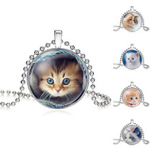 NingXiang Statement Handmade Silver Color Cat Kids Glass Necklace For Women Wholesale Lovely Long Necklace Cat Jewelry Gift