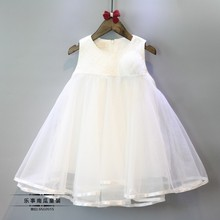 2016 new girls spring princess tall waist white color vest dress with a corsage